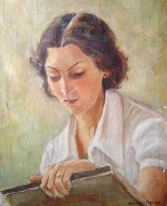 Leitura, s/d Henrique Manzo (Brasil, 1896-1982) óleo sobre tela, 38 x 32 cm  Coleção Particular