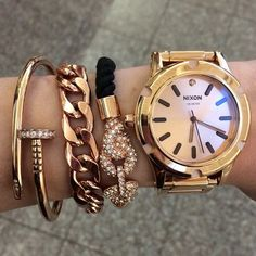 kim bangles from@queenpee and watch from Nixon.  #nixon #rosegold@ashleyswagnerxo's Instagram Photo.