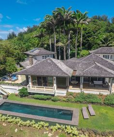 Discover the privacy met with sweeping Kilauea ocean, mountain and river views at this idyllic paradise residence Large Indoor Plants, Hawaii Homes, House Plant Care, Big Leaves, Architect House, Luxury Travel, House Tours, Outdoor Spaces, Luxury Homes