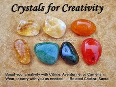 Crystal Guidance: Crystal Tips and Prescriptions - Creativity. Top Recommended Crystals: Citrine, Aventurine, or Carnelian. Additional Crystal Recommendations: Pyrite, Ametrine, or Calcite Orange. Creativity is associated with the Sacral chakra. Crystal Healing Stones, Crystal Magic, Crystal Grid, Citrine Crystal, Crystals And Gemstones, Stones And Crystals, Gem Stones, Chakra Crystals, Wicca Crystals