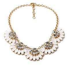 White bib necklace, statement bridal necklace, white necklace, flower statement necklace, gold chain statement necklace, NR1560-B