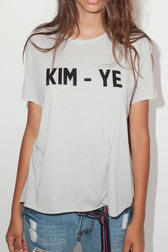 Kim-ye one size grey short sleeve t-shirt. One size fits 2-10.   Kim-Ye Tee by Don't Tell Mama. Clothing - Tops - Graphic Tees Clothing - Tops - Tees & Tanks Israel