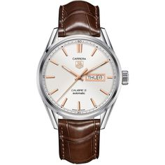 Tag Heuer Men's Swiss Automatic Carrera Calibre 5 Brown Leather Strap... ($2,850) ❤ liked on Polyvore featuring men's fashion, men's jewelry, men's watches, none, mens watches jewelry, mens leather strap watches and tag heuer mens watches