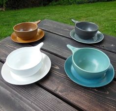 Set of 4 Bennington Potters Handled Soup Bowls 31 4 Bread Plates 1661   eBay
