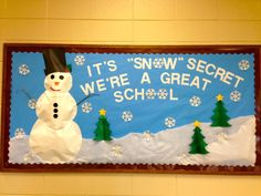 Winter bulletin board...with puffed 3-D snowman!