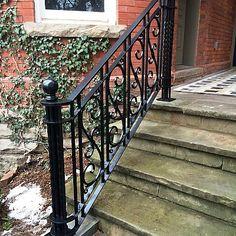 Exterior Railings – Dufferin Iron & Railings Railings For Steps, Exterior Stair Railing, Outdoor Stair Railing, Staircase Railings, Balcony Railing, Wrought Iron Stair Railing, Wrought Iron Doors, Iron Handrails, Iron Railings