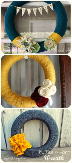 DIY Yarn Wreaths - Click image to find more DIY & Crafts Pinterest pins