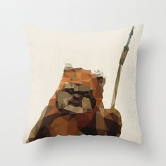 Ewok Star Wars Pillow Cushion Cover Polygon Art Home Decor Vintage Style Science Fiction Sci Fi Character