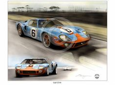 FORD GT40 GULF RACING LE MANS JACKY ICKX 1969 NEW PAINTING PRINT CHRIS DUGAN A++ Ford Gt40, Le Mans, Artwork Prints, Painting Prints, Limited Edition Prints, Racing, Hand Painted, Gallery, Artist