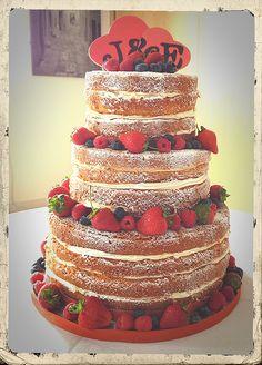 Naked Wedding Cake with fresh berries. Ivory & Rose Cake Co.