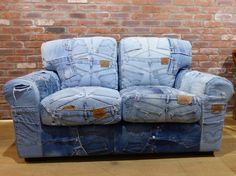 Denim sofas Levi jean 501 two seater sofa handmade salvaged couch settee reclaimed funky cool chic. This is a designer master piece from Smithers of Stamford Denim Furniture, Furniture Logo, Retro Furniture, Upcycled Furniture, Bedroom Furniture, Furniture Dolly, Furniture Projects, Furniture Design, Denim Couch
