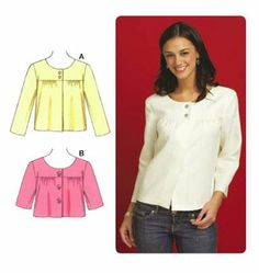 Just make as a blouse - cut front as one piece - keep three little buttons at neckline - white cotton- ricrac trim? Kwik Sew 3584 Jacket