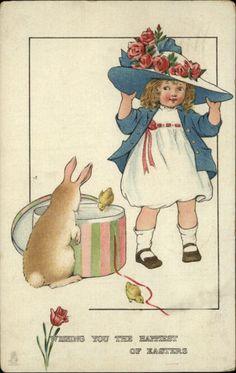 Tuck Joyous Youth Easter Child Big Hat Bunny Rabbit Chicks c1910 Postcard | eBay