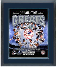 "11""x14"" Framed and Matted New York Yankees All-Time Great Players Photo Montage"