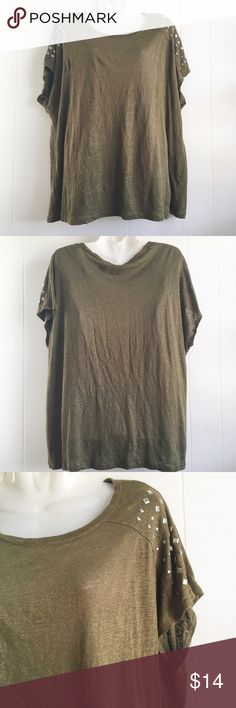 Cato Studded Sleeve Top Military green in color, silver studs cover the shoulders, all studs are still completely intact. Very tiny spots of pulling but not major this short has plenty of life still left in it. Great paired with booties or boots and your favorite denim. Not clingy to the body but great worn loose! Cato Tops Tees - Short Sleeve