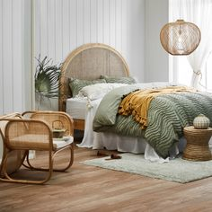 Shop the hottest trend this season, rattan & cane. Adding warmth to your space with natural elements, this light and durable furniture is the perfect accompaniment to a range of styles. Bali Bedroom, Bedroom Inspo, Dream Bedroom, Master Bedroom, Bedroom Decor, Bedroom Retreat, Estilo Tropical, Tropical Bedrooms, Pastel Room