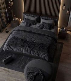 The classic elegant black colored bedroom never goes out of style. Tag a friend who loves dark bedroom? Luxury Bedroom Design, Home Room Design, Bed Design, Home Interior Design, Loft Design, Luxury Interior, Modern Interior, Men's Bedroom Design, Design Case