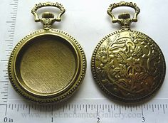 Large vintage pocket watch pendant tray bezel for ice resin bronze mixed media jewelry
