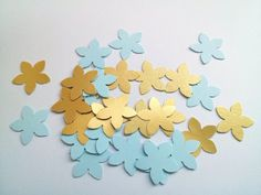 Blue paper flowers small paper flower confetti baby shower baby boy blue and gold confetti paper flower punches wedding confetti party