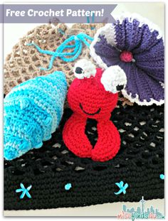 Free Crochet Patterns: Beach Bag, Crab and Shell Amigurumi https://babytoboomer.com/2013/06/03/free-summer-crafts/?utm_campaign=coschedule&utm_source=pinterest&utm_medium=Baby%20to%20Boomer%20Lifestyle&utm_content=Free%20Crochet%20Patterns%3A%20Beach%20Bag%2C%20Crab%20and%20Shell%20Amigurumi