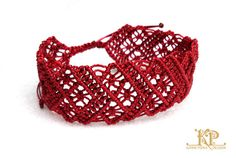 A bracelet make by Micro Macrame technique with red 0,5 mm nylon thread Adjustable length: 17 cm to 25 cm. Slide system close - very secure (and easy