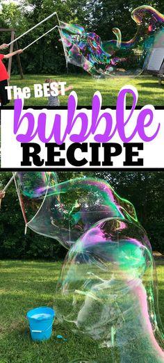 Giant Bubble Recipe, Homemade Bubble Recipe, Bubble Diy, Homemade Bubbles, Bubble Recipes, Bubble Crafts, Bubble Party, Baby Recipes, Homemade Art