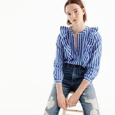 Striped button-up shirt with ruffles