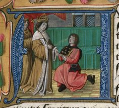 Royal 19 C viii f1. historiated initial 'A'(vous) of Henry VII receiving the book from the writer.   Origin: England, S. E. (Sheen) and Netherlands, S. (Bruges)   Attribution: Master of the Prayer Books of around 1500