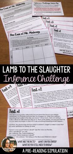 Lamb to the Slaughter by Roald Dahl Inferences Challenge/ Pre-Reading Simulation High School Classroom, High School Students, Future Classroom, Esl Resources, School Resources, Education English, Teaching English, Teaching Reading, Reading Activities