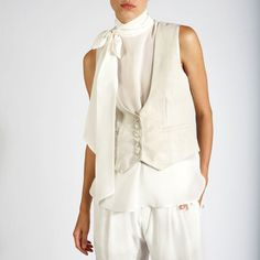 Scoop Leather Vest White Plaid - Great look