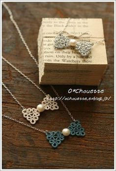 Tatting Bow-Tie With Beads Necklace  @ochouette.exblog.jp