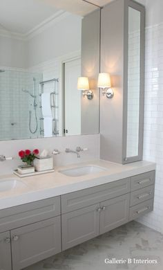 This is almost perfect: right down to the heated towel bar shown in the mirror!