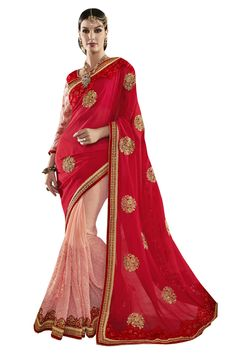 Buy Now Red-Pink Fancy Embroidery Georgette Half-Half Wedding Wear Saree only at Lalgulal.com Price :- 4,632/- inr. To Order :- http://goo.gl/0qugAe COD & Free Shipping Available only in India