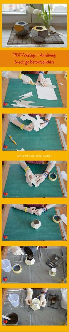 Mach dir aus Kreativbeton wunderbare Dekoration: in dieser Anleitung zeige ich dir wie du ein 5-eckiges Teelicht bastelst  Bastelanleitung | Gechenksidee | Beton gießen Ideen