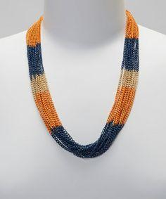 Orange & Navy Necklace by PANNEE JEWELRY #zulily #zulilyfinds