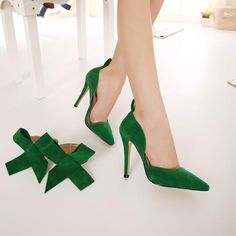 fereshte Women's D'Orsay Pointy Toe Stiletto High Heel Dress Pumps with Bowknot Green M US = - Shoes - Frequently updated comprehensive online shopping catalogs Wedding Shoes Heels, Bow Heels, Dress And Heels, High Heels Stilettos, Ankle Strap Sandals, Stiletto Heels, Green High Heels, Diy Vetement, Dress Party