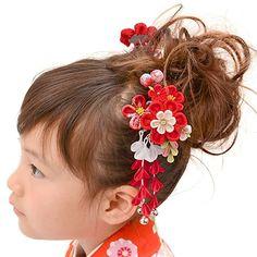 髪飾り パッチンピン2点セット ちりめんかんざし 赤 葵 中国製