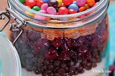 Vörös áfonyás, csokis kekszalappor üvegben