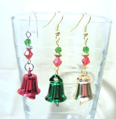 Shiny Colored Christmas Bell Dangle Earrings by Pizzelwaddels