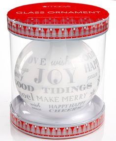 Holiday Lane Silver Word Glass Ornament Gift Box, Only at Macy's - Gourmet Food & Gifts - Dining & Entertaining - Macy's