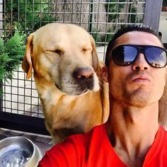 Cristiano Ronaldo faz selfie com Marosca, o seu labrador