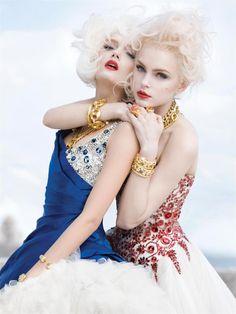 Jessica Stam & Lily Donalson. Photography by Sebastian Faena for V Magazine.