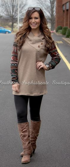 Mocha Aztec Sleeve Sweater Tunic / Southern Sophisticate Boutique