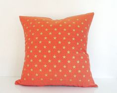 Your place to buy and sell all things handmade Gold Pillows, Orange Pillows, Throw Pillows, Gold Stars, Star Print, Metallic Gold, Orange Color, Madness, Decorating