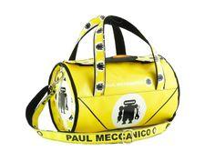 Borsa donna Paul Meccanico di forma cilindrica colore giallo vivace.
