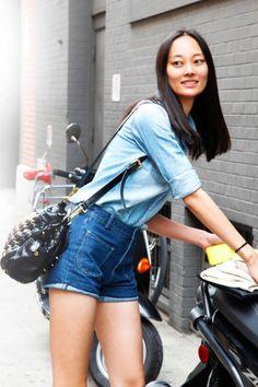 Li Xiao Xing wears an H short with Topshop shorts #streetstyle #NYFW