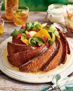 Celebrate summer in style with Felicity Cloake's boozy bundt drizzle cake. You could swap the spirits for Pimms too, if you prefer. Summer Cake Recipes, Summer Cakes, Drizzle Cake, Banana Recipes, Tea Recipes, Summer Fruit, Cake Batter, Celebration Cakes, So Little Time