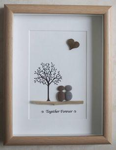 Pebble Art framed Picture Together Forever