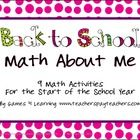 ($) Back to School Math About Me is a collection of printable math activities by Games 4 Learning. These 9 Back to School math activities are all based on numbers and math concepts about the student.