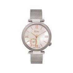 Γυναικείο κομψό ρολόι JCou JU17021-1 Eclipse με ασημί καντράν και μπρασελέ  ψάθα  26e8eecdfa6